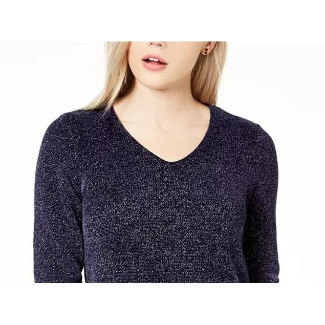 Maison Jules Women's Metallic V-Neck Sweater Navy Size Small