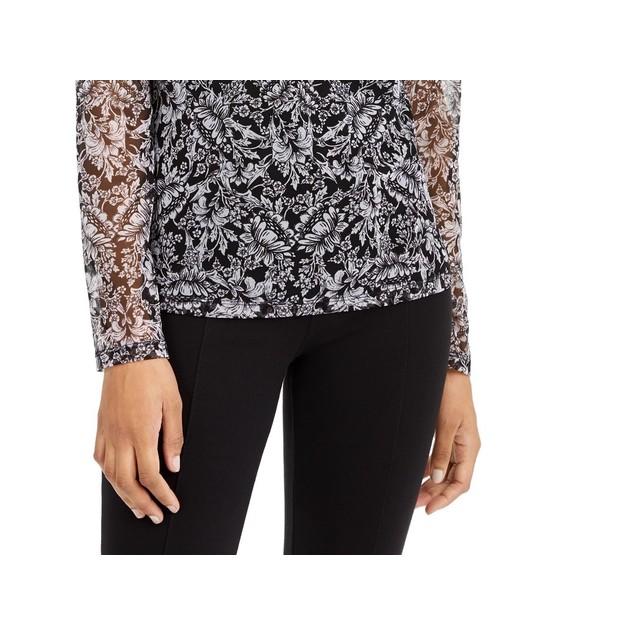 INC International Concepts Women's Printed Mock-Neck Top Black Size X-Large