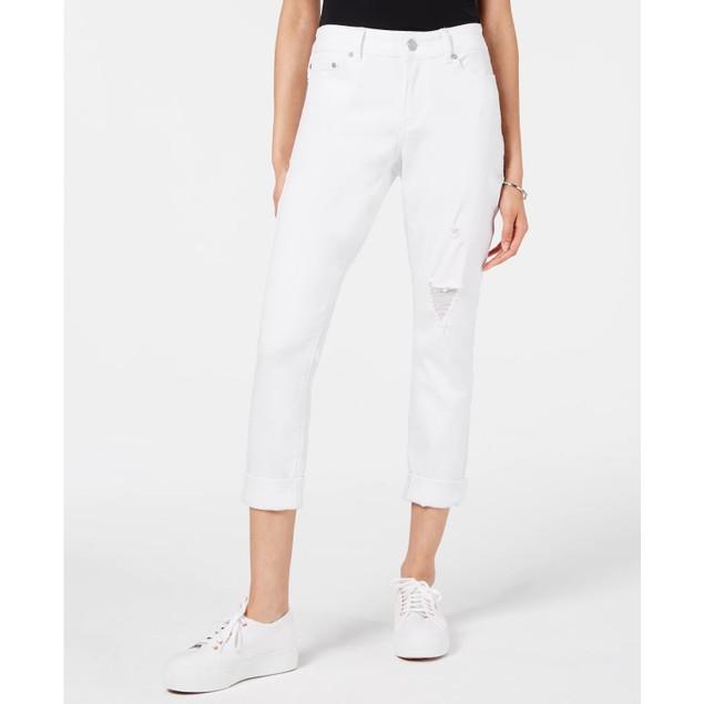 Indigo Rein Junior's Colored Denim Cuffed Skinny Jeans White Size 13