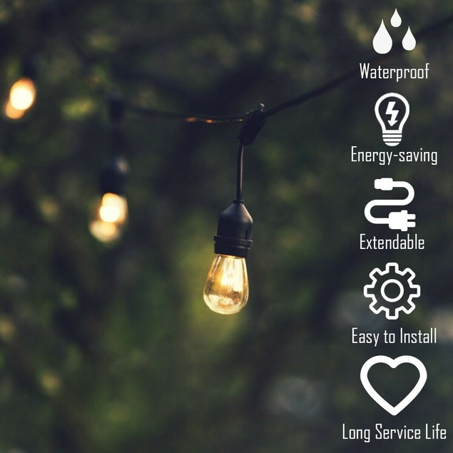 Costway 48FT LED Outdoor Waterproof Commercial Grade Patio Globe String Lig