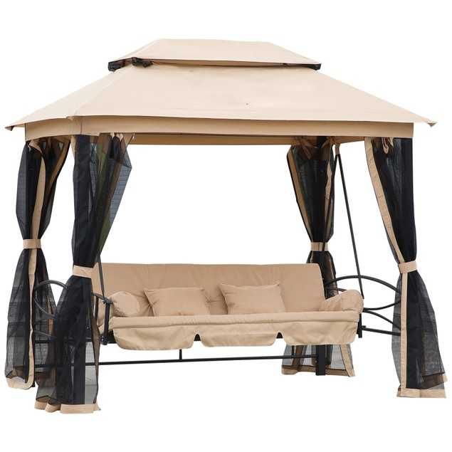 3 in 1 Patio Swing Gazebo Canopy Daybed Hammock Canopy Tent Outdoor