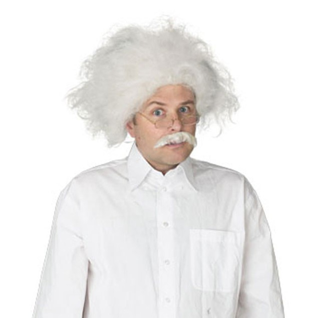 Scientist Wig Mustache Albert Einstein Mark Twain Mad Science Crazy White