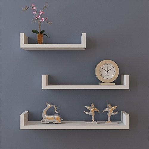 Set of 3 White Floating Display Shelves Ledge Bookshelf Wall Mount Storage Home Décor