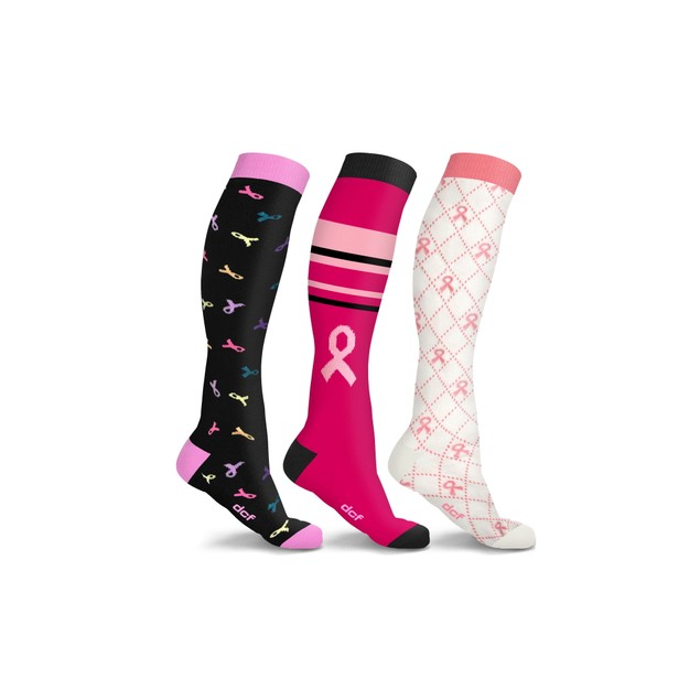 DCF Breast Cancer Support Compression Socks (3-Pack)