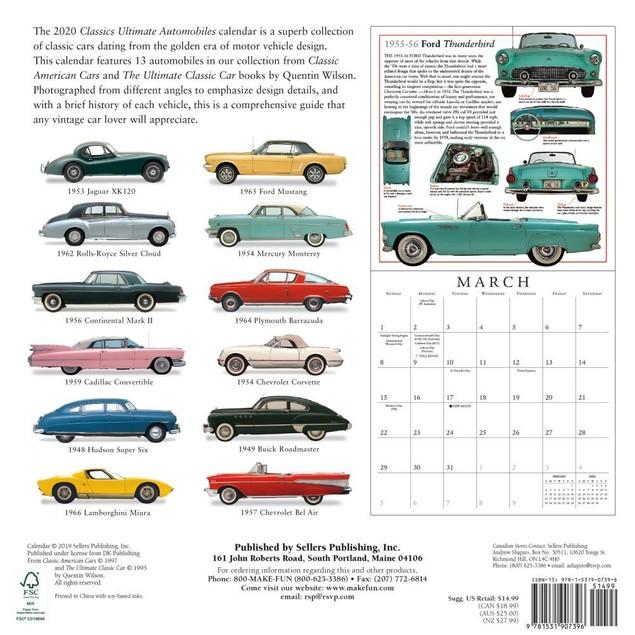 Ultimate Automobiles Wall Calendar, Classic Car by Calendars