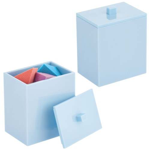 mDesign Storage Apothecary Jar for Bathroom, 2 Pack - Light Blue