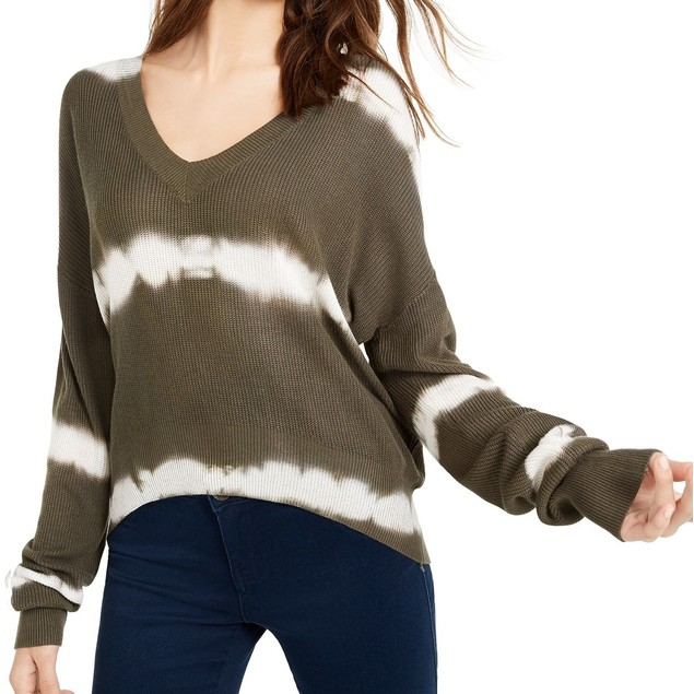 Crave Fame Juniors' Women's Tie-Dyed Pullover Sweater Gray Size Large