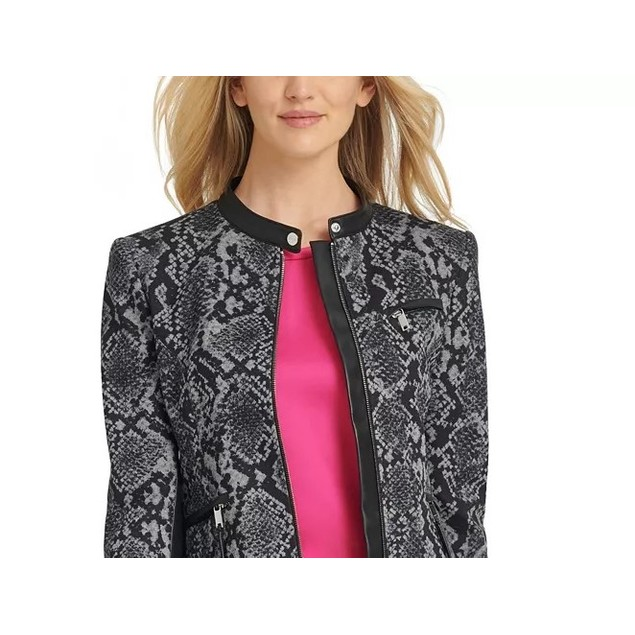 DKNY Women's Snake-Embossed Faux-Leather-Trim Jacket Gray Size 4