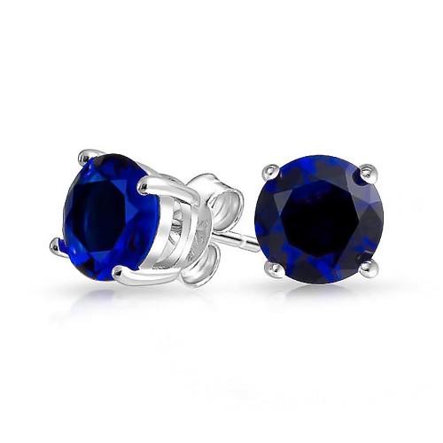 Sapphire Stud Earrings in Sterling Silver