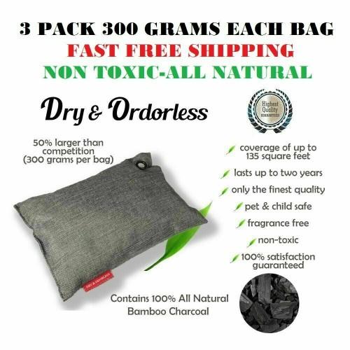 3-Pack Natural Moso Bamboo Charcoal Air Purifying Bag Odor Eliminator