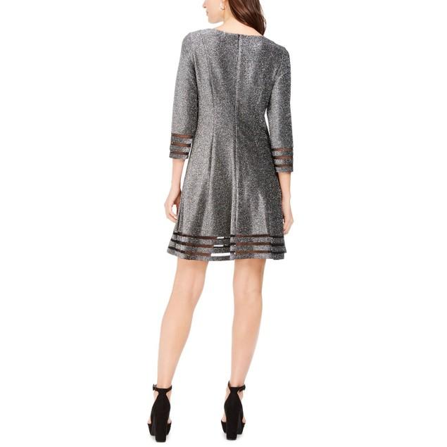 Jessica Howard Women's Metallic Illusion-Trim Dress Silver Size 4P