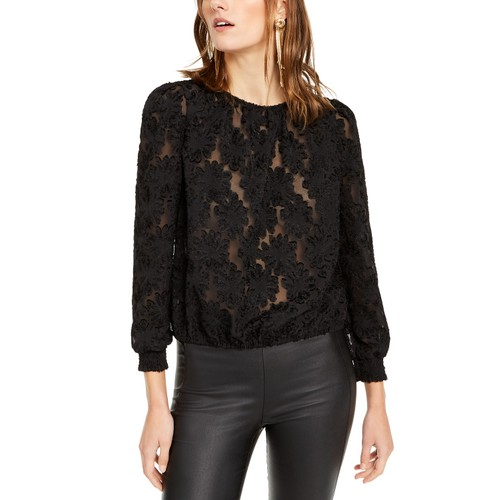 INC International Concepts Women's Petite Jacquard Blouse Black Size 44