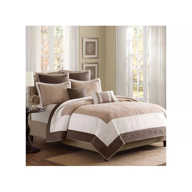 """Madison Park Attingham 7 Piece Quilted Bedding Coverlet Set, 90X90"""" Queen,"""