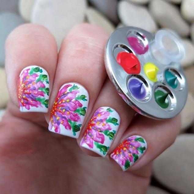 Nail Art Ring Palette Free Hand Manicure Finger Palette