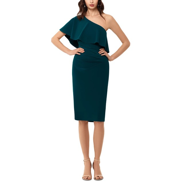 XSCAPE Women's OneShoulder Dress Green Size 14 P