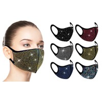 Rhinestone Bling Face Mask (6-Pack)