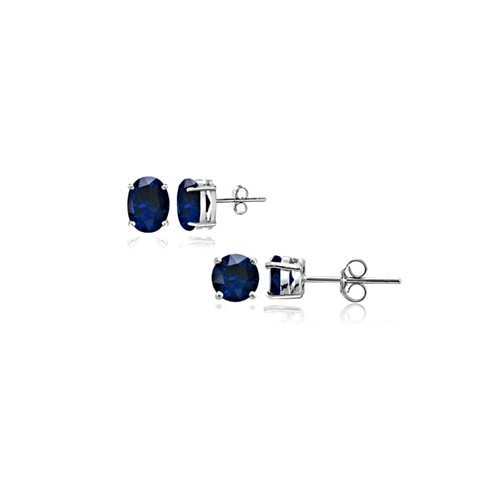 Set Of 2 Sterling Silver Genuine Sapphire Studs