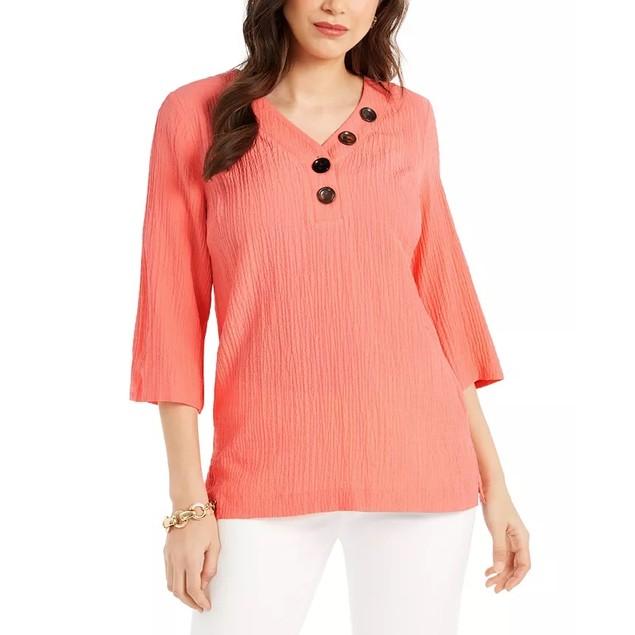 JM Collection Women's Crinkle Button Neck Top Orange Size Large