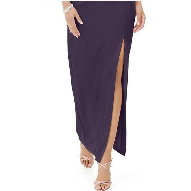 Adrianna Papell Women's Ruffled One Shoulder Gown Dark Purple Size 2