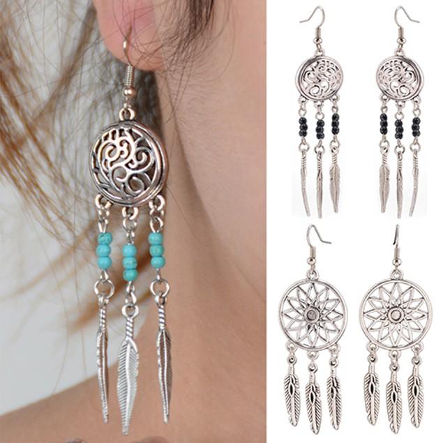 Women Hollow Lotus Flower Pendant Earrings
