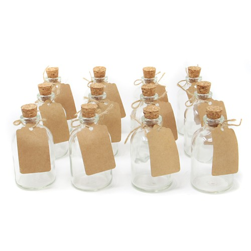 Set of 12 Mini 50ml Glass Bottles | Includes Decorative labels | MandW
