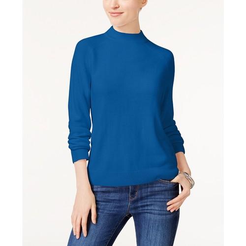 Karen Scott Women's Petite Luxsoft Zip-Back Sweater Blue Size Medium