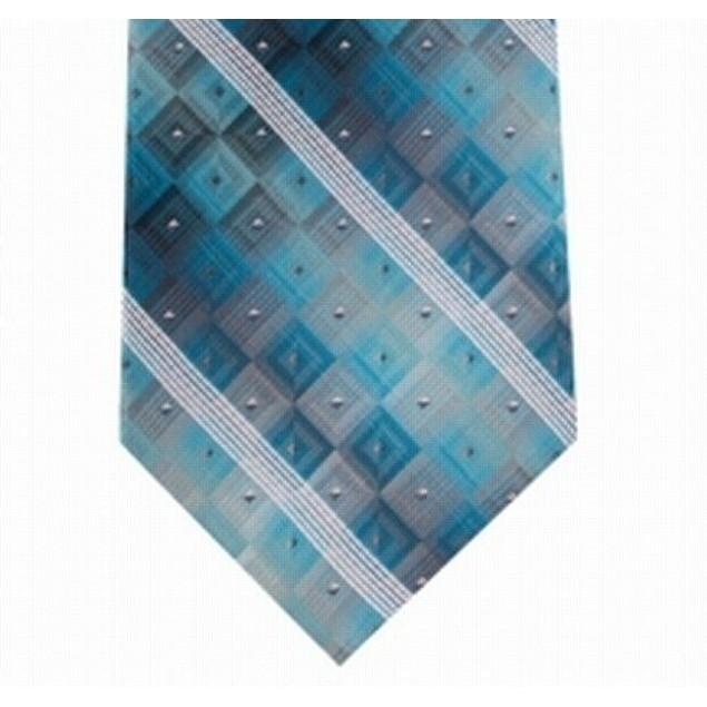 Van Heusen Men's Aaron Stripe Geometric Tie Blue Size Regular
