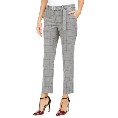 Calvin Klein Women's Petite Windowpane-Print Belted Pants Gray Size 4 P