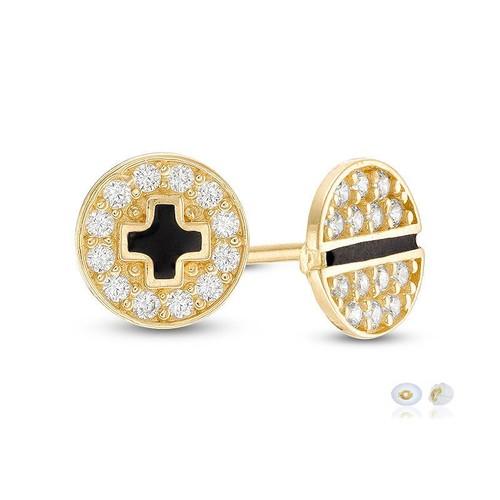 10K Yellow Gold Zirconia & Black Enamel Plus & Minus Mismatch Earrings