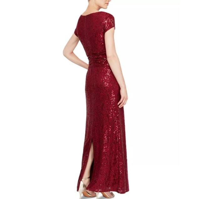 SL Fashions Women's Sequined Lace Gown Red Size 6