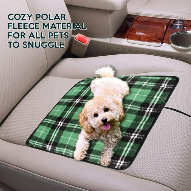 Zone Tech Car Electric Mini Heated Travel Blanket Pad Fleece Green Plaid