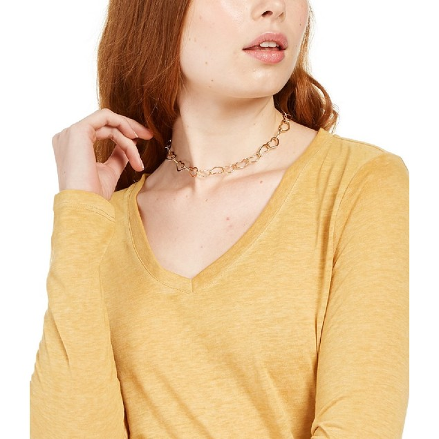 Ultra Flirt Juniors' Long-Sleeved Textured Boyfriend T-Shirt Yellow XL