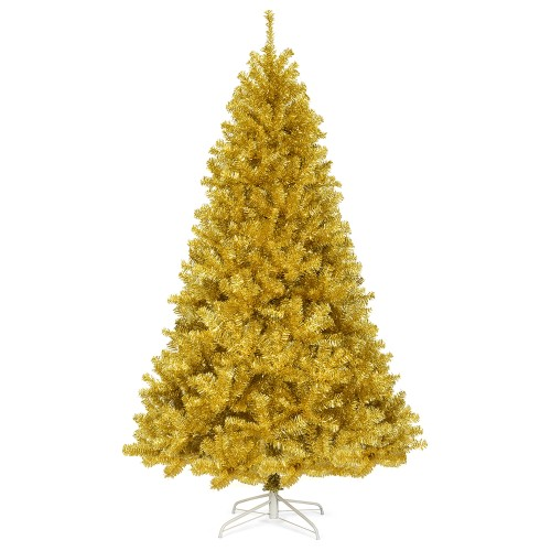 Costway 7.5ft Artificial Tinsel Christmas Tree w/1258 Tips Foldable Stand C