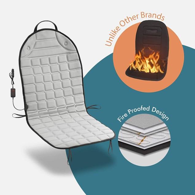 Zone Tech Car Heated Seat Cover Cushion Hot 12V Fireproof Warmer Pad