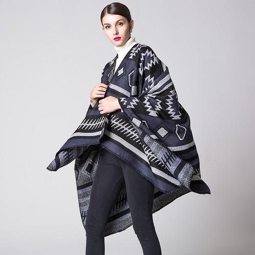 Ladies Geometric Puzzle Cloak Travel