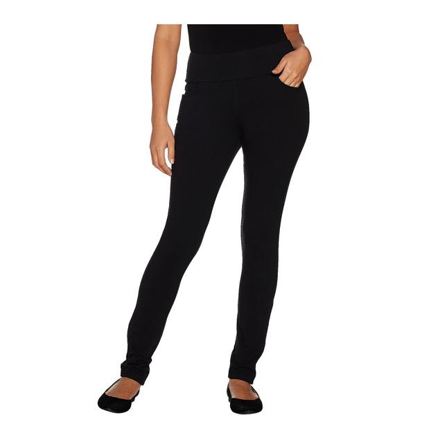 Denim & Co. Active Petite Pull-On Knit Slim Leg Pants, X-Small, Black