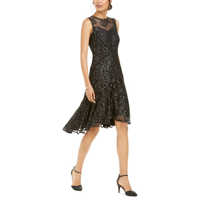 Taylor Women's Petite Metallic Lace Illusion High Low Dress Black Size 1