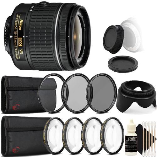 Nikon AF-P DX NIKKOR 18-55mm f/3.5-5.6G VR Lens + 55mm UV CPL ND Kit + Macro Kit + Tulip Lens Hood + Rear & Front Cap + 3pc Cleaning Kit