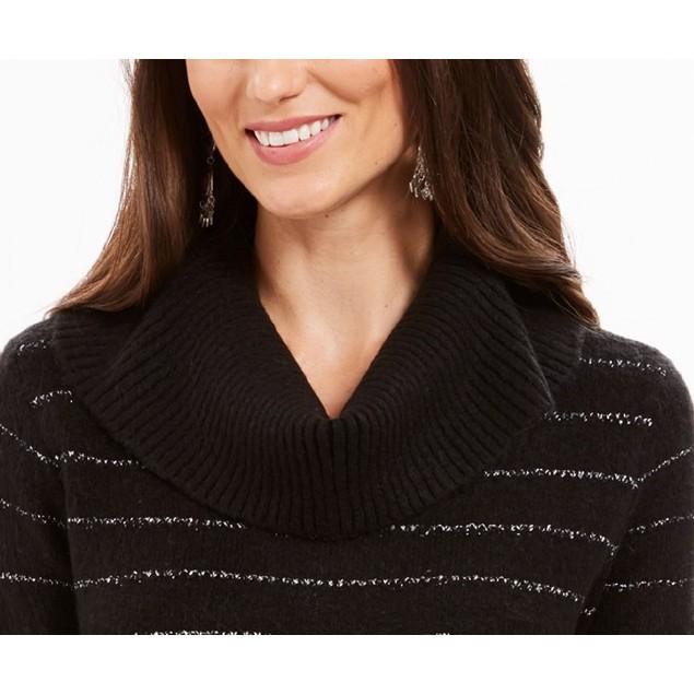 Style & Co Women's Lurex Cowl-Neck Sweater  Black Size Medium