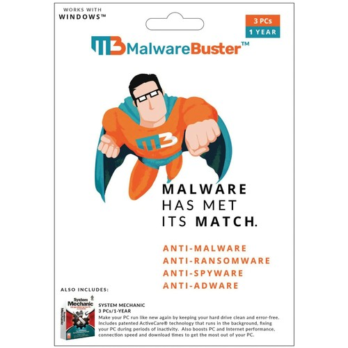 MalwareBuster/System Mechanic 3 PCs-1 Year
