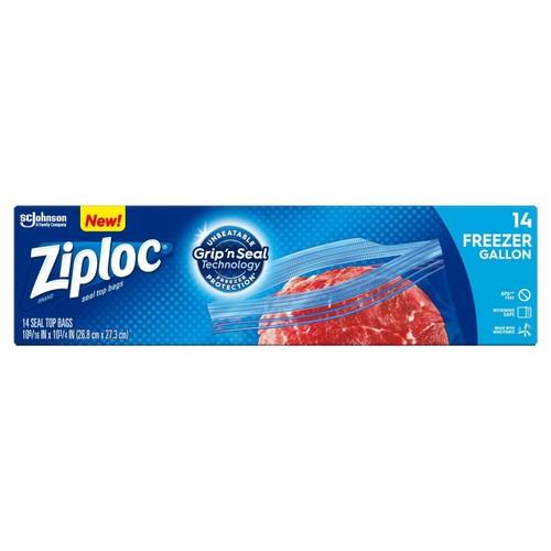 Ziploc Gallon Plastic Freezer Bags  with Grip 'n Seal Technology, 14 Ct