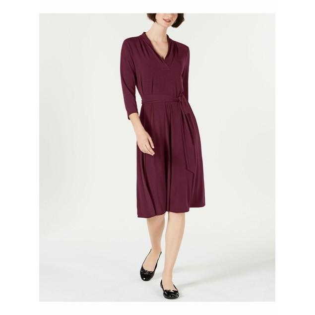 Charter Club Women's Petite Solid Midi Dress Wine Size 44