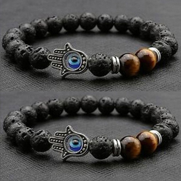 Fashion Lava Rock Beads Silver Charm Bracelet