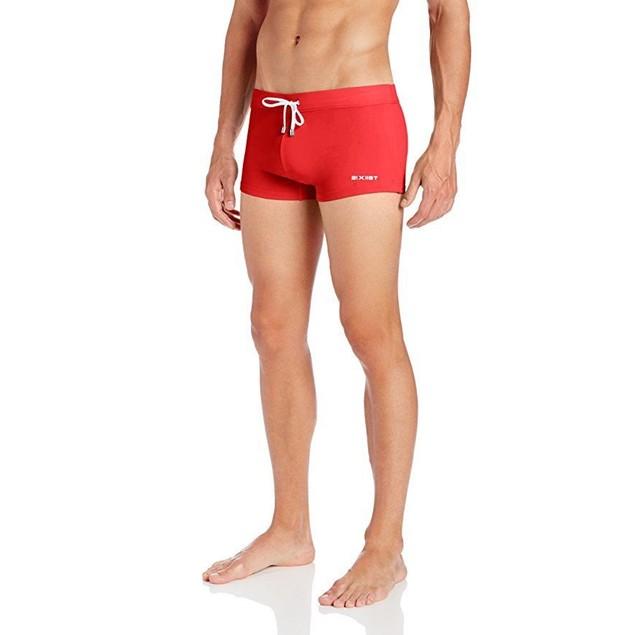 2(X)IST Men's Cabo Solid Swim Trunks, Red,SZ:  Medium