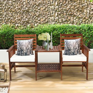 Costway Patio Loveseat Conversation Set Acacia Wood Chair Coffee Table Cush