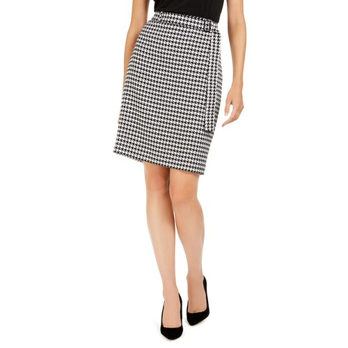 Calvin Klein Women's Belted Houndstooth Pencil Skirt Med Gray Size 12
