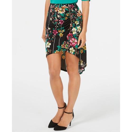 Thalia Sodi Women's Printed Ruched High Low Skirt Black Size X-Large