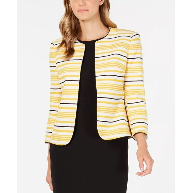 Anne Klein Women's Stripe Tweed Jacket  Yellow Size 8