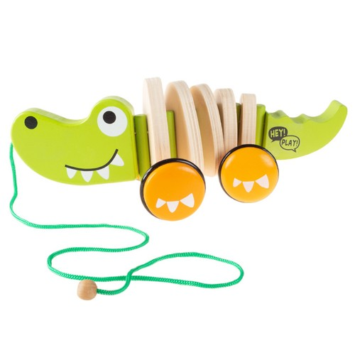 Wooden Pull Toy  Old Fashioned Rolling Walk Along Alligator