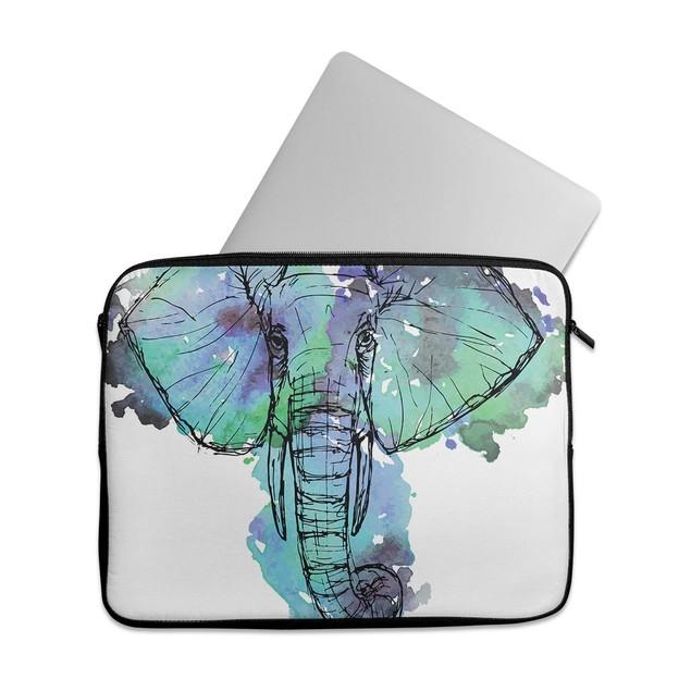 "EmbraceCase 15.6"" Ink-Fuzed Laptop Sleeve - African Sketch Elephant"
